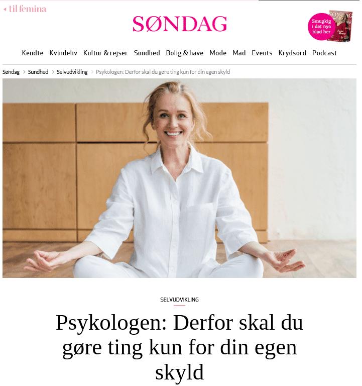 Søndag, Femina, Stress, Åndehuller, Psykolog, Anita Øland